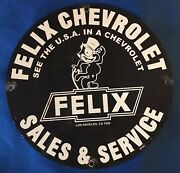 Vintage Style Felix The Cat Chevrolet Heavy Porcelain Sign 12and039and039 Round