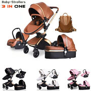Luxury Leather Pu Waterproof 3 In 1 Two-way Push 360 Rotate Baby Car Seat