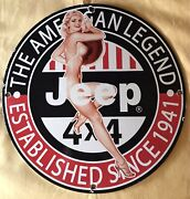 Vintage Style Jeep Est.1941 Pinup 12in Round Pump Plate High Quality Porcelain