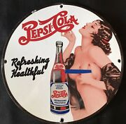 Vintage Style And039and039pepsi=colaand039and039pinup Advertising Sign Porcelain 12 Inch.