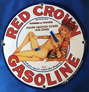 1932 Vintage Style Red Crown Gasoline Pinup 12 Inch Porcelain Advertising Sign