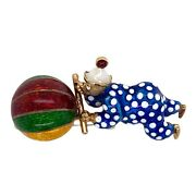 1960and039s Clown And Ball Enamel 14 Karat Yellow Gold Vintage Pin Brooch