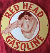 Vintage Style Red Head Gasoline Pinup 12 Inch Porcelain Advertising Sign