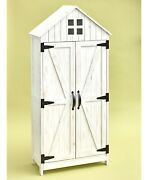 Barn-style Outdoor Rustic Wood White Storage Cabinet Country Farmhouse Patio