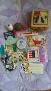 Vintage Sewing Basket With Lots Of Vintage Goodies Tomato Pin Cushion And More