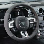 Gray Black Faux Leather Steering Wheel Cover For Car Van Suv Truck Auto 15