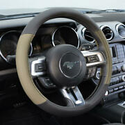 Bdk Beige Black Two Tone Faux Leather Steering Wheel Cover For Car Van Suv