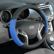 Blue Black Two Tone Faux Leather Steering Wheel Cover For Car Suv Truck 15