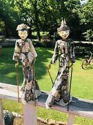 Pair Indonesian Wayang Golek Marionettes Asian Puppets