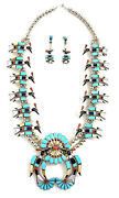 Native American Sterling Silver Zuni Multicoloured Water Baird Necklace Set