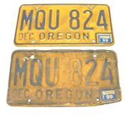 Pair Of Yellow And Blue Oregon License Plates Dec 1999 Tags Mqu 824 Used Plates