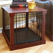 Indoor Dog Crate Wood Pet Kennel Wooden Side End Table Cherry Finish New