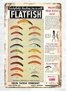 Collectible 1942 Helin Flatfish Lure Catalog Cover Color Chart Metal Tin Sign