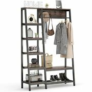 Freestanding Closet Organizer Clothes Rack With Coat Rack Entryway Hall Trees