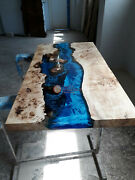 Epoxy Wooden Resin River Dining Center Table Top Handmade Collectible Furniture