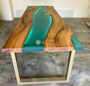 Spalted Green Resin Dining Sofa Custom Handmade Table Top Acacia Wooden Top Deco