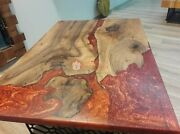 Special Order For Yannick Epoxy Red Resin Acacia Dining Room Table Hallway Decor