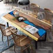 Blue Resin Handmade Epoxy River Blue Wooden Dining Table Office And Home Decor Art