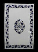 30 X 48 Inches Marble Coffee Table Top Lapis Lazuli Gemstone Inlaid Island Table