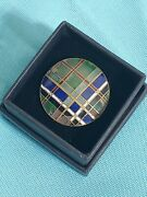 Antique French Victorian Hand Painted Enamel Plaid Button