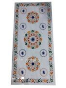 24 X 60 Inches Marble Coffee Table Top Semi Precious Stones Inlaid Center Table