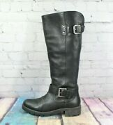 Clarks Women's Tall Knee High Black Leather Riding Boots Waterproof Size 9 M