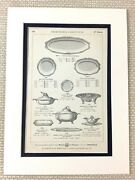 Antique Christofle Print Advert Silver Tureen Oval Serving Tray Platter Plates