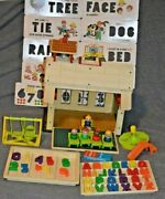 Vintage-fisher Price Little People-school House-923-complete Except Eraser-extra