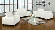 Contemporary Sofa Loveseat Chair White Bonded Leather Cushion Couch 3p Set