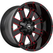 4 - 20x12 Black Red Milled Wheel American Offroad A108 6x135 6x5.5 -44