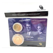 U.s. Mint Presidential 1 Coin And Spouse Medal Set Ronald And Nancy Reagan