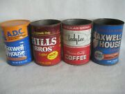 Vintage Lot Of 4 Coffee Cans 1lb Hills Bros, Maxwell House, Ladylee