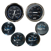 Faria Set Of 6 Gauges Speed Tach Fuel Level Voltmeter Water Temp And Oil Psi
