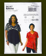 Woman's V-neck Tops Sewing Patternpullover Plus Sizes Xxl-6x Butterick 6187