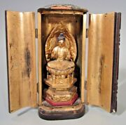 Japan Japanese Carved Gilt Wood Figure Of The Buddha In Zushi Case Ca. 19-20th C