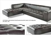 Modern Contemporary Dark Brown Leather Sectional Sofa 4 Pieces Set 1707