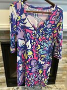 Lily Pulitzer Dress Floral Abstract 100 Pima Cotton V Neck Size M Gold Buttons