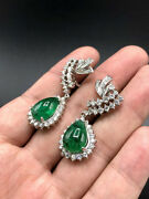 3.01ct Natural Round Diamond 14k Solid White Gold Emerald Wedding Dangle Earring