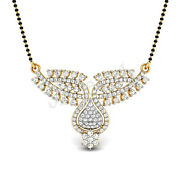 Christmas 2.50ct Natural Round Diamond 14k Yellow Gold Mangalsutra Necklace
