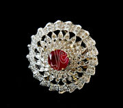 Christmas 3.11ct Natural Round Diamond Ruby 14k Solid Yellow Gold Cocktail Ring