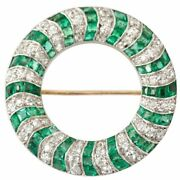 Christmas 2.05ct Natural Round Diamond 14k Solid White Gold Emerald Brooch Pin