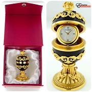 Rare House Of Faberge Imperial Collection Black Onyx And Gold Plated Egg W/ Clock