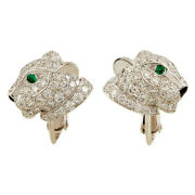 2.00ct Natural Round Diamond Emerald 14k Solid White Gold Panther Cuff Link