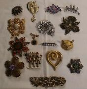 Great Vintage Rhinestone Pin Brooch Lot 15 Some Signed