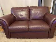 Used Raymour And Flanagan 4 Pcs Leather-sofa Couch / W Wooden Center Table