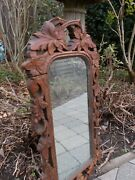 French Victorian Black Forest Hand Carved Wood Frame Wall Mirror