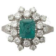 Black Friday 1.02ct Natural Diamond Emerald 14k Solid White Gold Cluster Ring