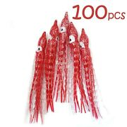 100pcs Fish Wow® Red Clear 5 Squid Skirt Octopus Hoochies Crinkle Soft Lures