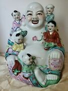 Vintage Porcelain Famille Rose Laughing Buddha With 5 Children Fertility Statue