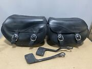 Oem Hd Detachables Leather Saddlebags Smooth For 06-17 Fx Softails And 2010 Flstse